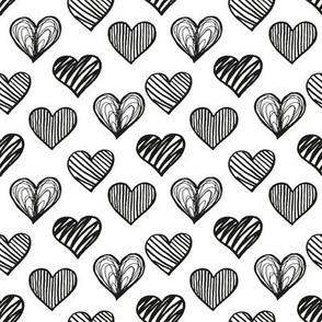 Black doodle hearts