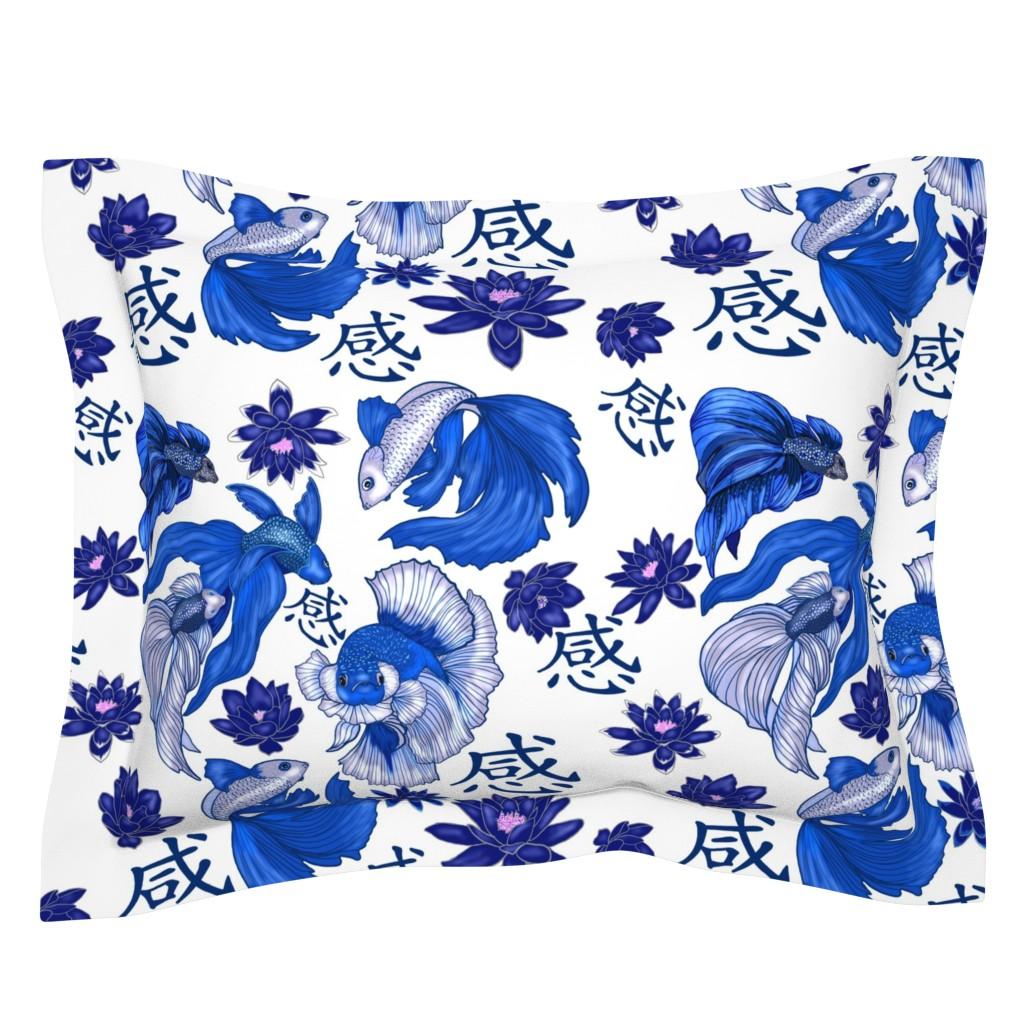 Sebright Pillow Sham featuring Chinoiserie Fighting Fish large print by salzanos