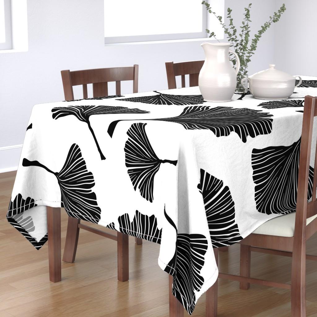Bantam Rectangular Tablecloth featuring Ginkgo Biloba Plant, Line art Black Leaves on White. Health Monochrome Pattern. Ayurvedic Medicine Theme.  by ilonitta