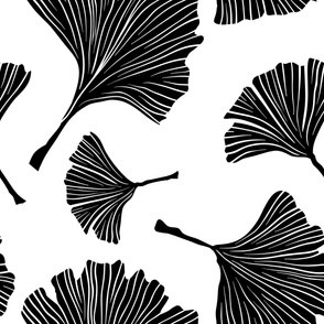Ginkgo Biloba Plant, Line art Black Leaves on White. Health Monochrome Pattern. Ayurvedic Medicine Theme.