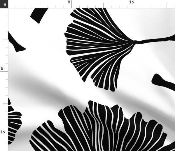 Ginkgo Biloba Plant Line Art Black Leav Spoonflower