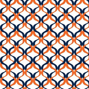Navy and orange team color Wave 1 inch repeat