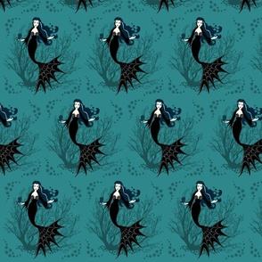 Vampire Mermaid on Turquoise