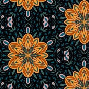A Midnight Autumn Garden Lattice on Black