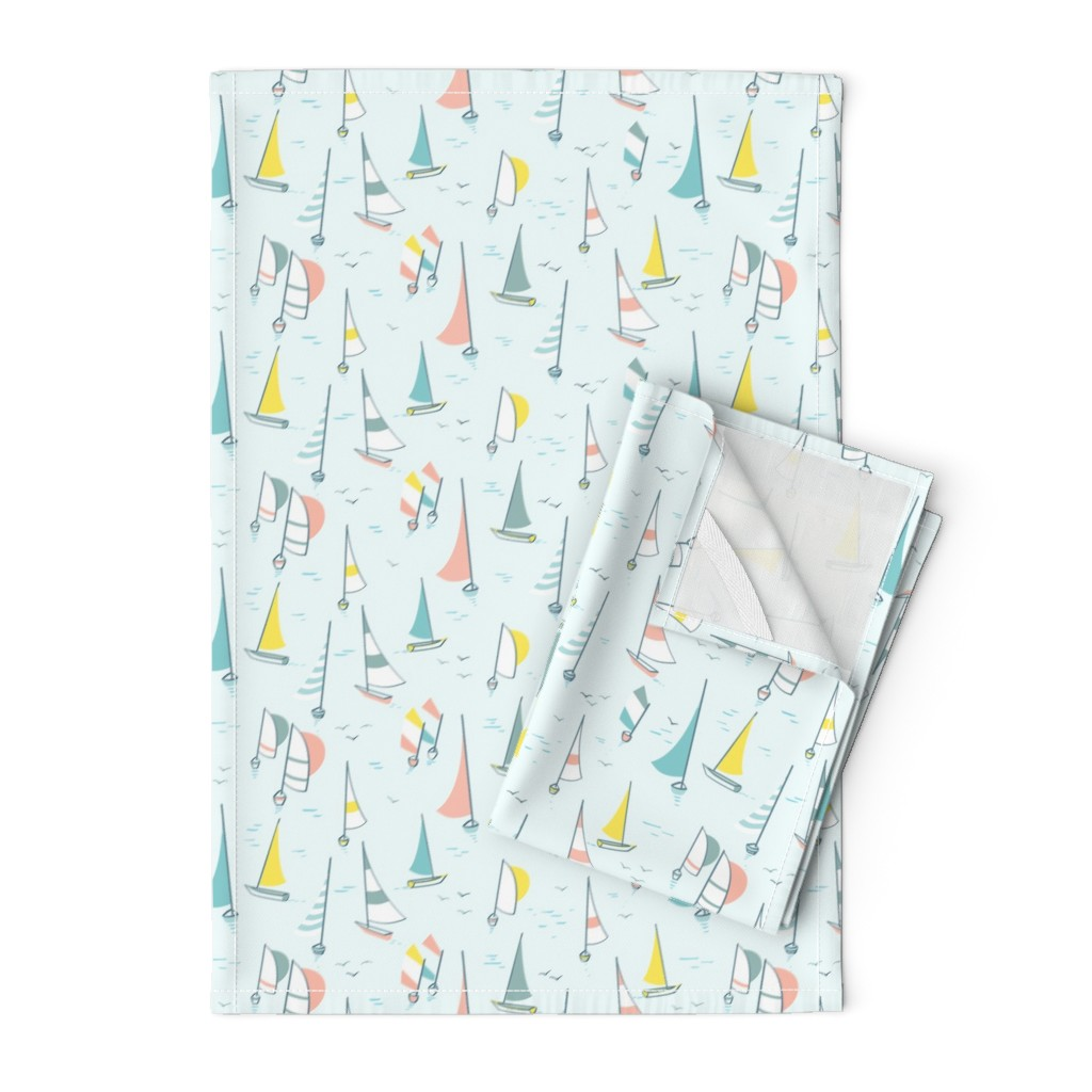 Orpington Tea Towels featuring Sail boats by charlotte_lorge
