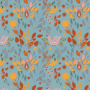 Green folk pattern with birds and leaves