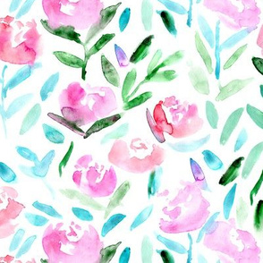 Watercolor flowers || tender pattern for girls, nursery, baby