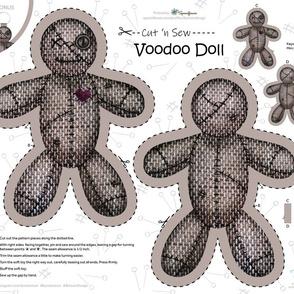 """Voodoo Doll / Cut 'n Sew / FQ 21"""" x 18"""""""