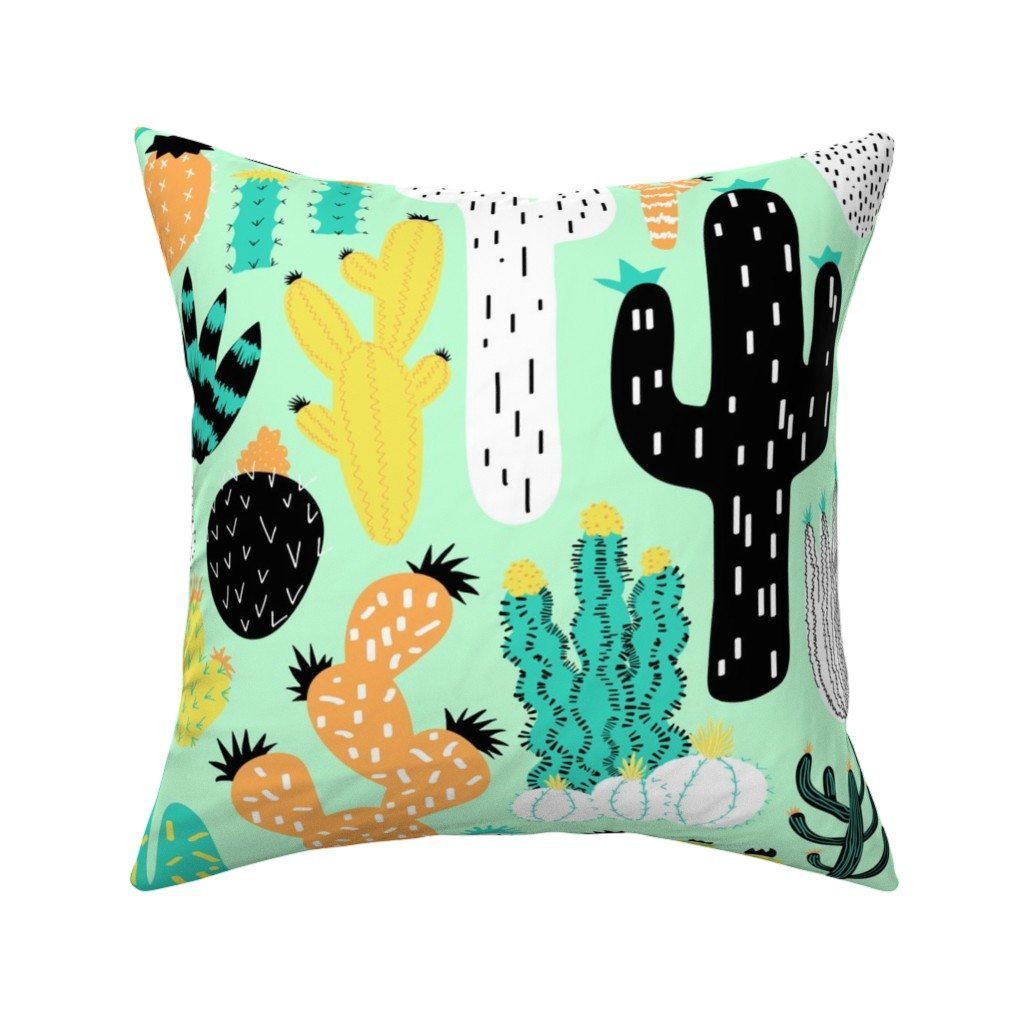 Catalan Throw Pillow featuring Cactus Crazy in Mint - Large Scale by elliottdesignfactory