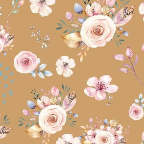 Gold Floral Print with Fun Pink and Gold Flowers