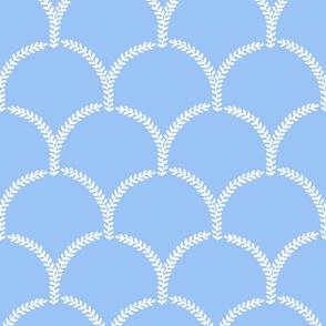 Hortense Scallop ~ White on Jasper Blue  ~ Large