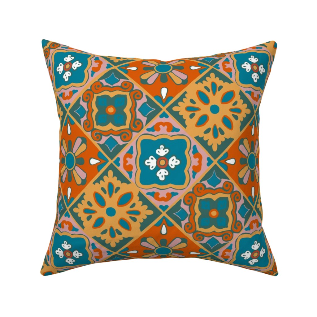 Catalan Throw Pillow featuring Earth Palette Spanish Tiles by elramsay