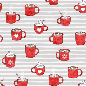 hot cocoa - hot chocolate - red on light grey stripes