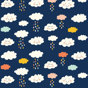 Print clouds with a smile 2 reapeat autumn winter 2018-2019 donkerblauw 150 dpi