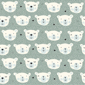 Print polarbears 1 winter 2018-2019 green and light blue and snow 150 dpi