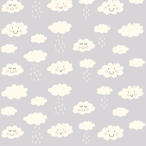 Print clouds with a smile 2 reapeat autumn winter 2018-2019 grey 150 dpi