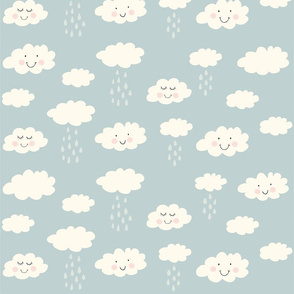 Print clouds with a smile 2 reapeat autumn winter 2018-2019 grey blue 150 dpi