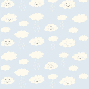Print clouds with a smile 2 reapeat autumn winter 2018-2019 light blue 2 150 dpi