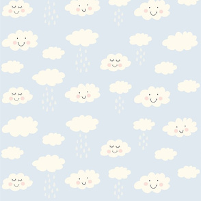 Print clouds with a smile 2 reapeat autumn winter 2018-2019 light blue 150 dpi