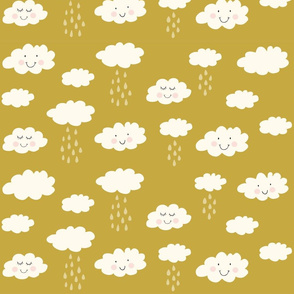 Print clouds with a smile 2 reapeat autumn winter 2018-2019 okergeel 150 dpi