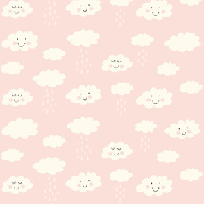 Print clouds with a smile 2 reapeat autumn winter 2018-2019 soft pink 150 dpi