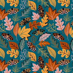 Limited colour moth and leaves