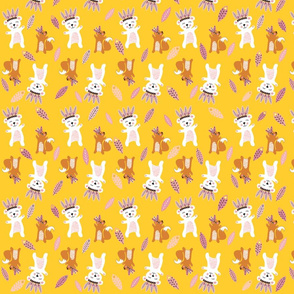 Print 8 icebears and squirrels basis repeat autumn winter 2018-2019 girl yellow backgound pink 150 dpi