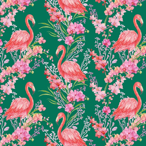 flamingos and orchids
