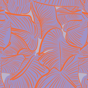 TROPICAL LEAVES ORANGE AND PURPLE
