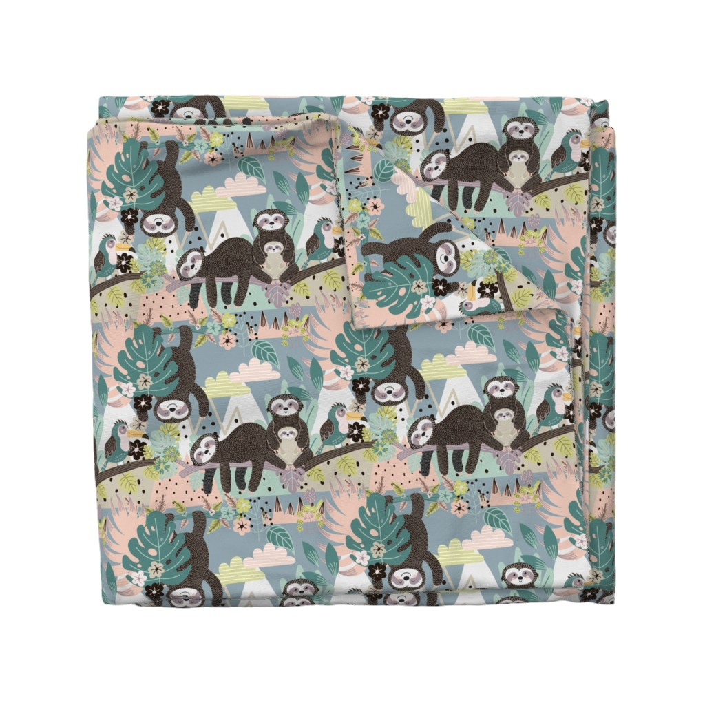 Wyandotte Duvet Cover featuring Sloth Life by floramoon