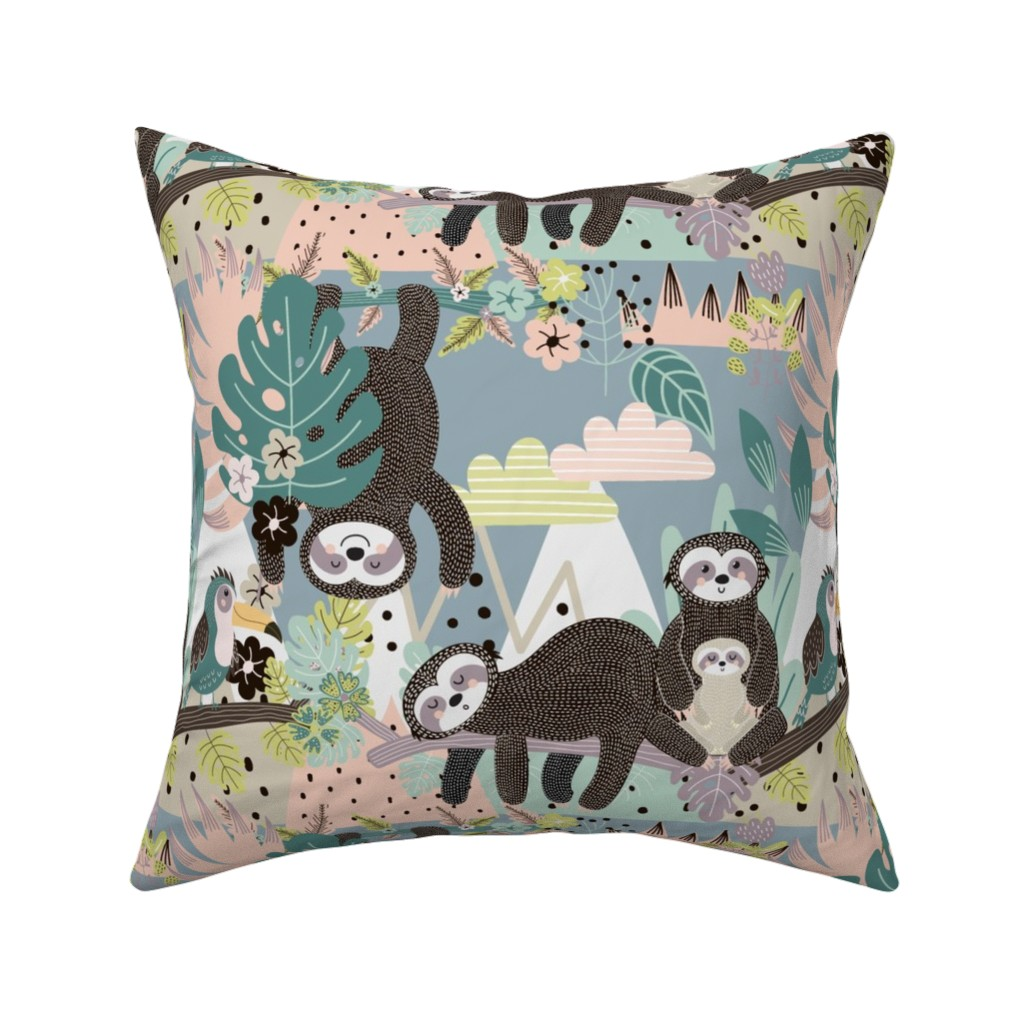 Catalan Throw Pillow featuring Sloth Life by floramoon
