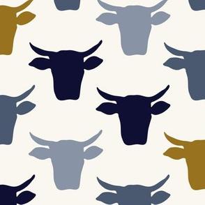Cow Heads - Indigo, Cream