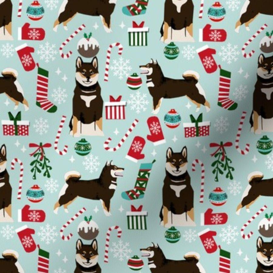 a162f32ad shiba inu christmas fabric, shiba inu holiday, shiba inu fabric, dog  fabric, ...