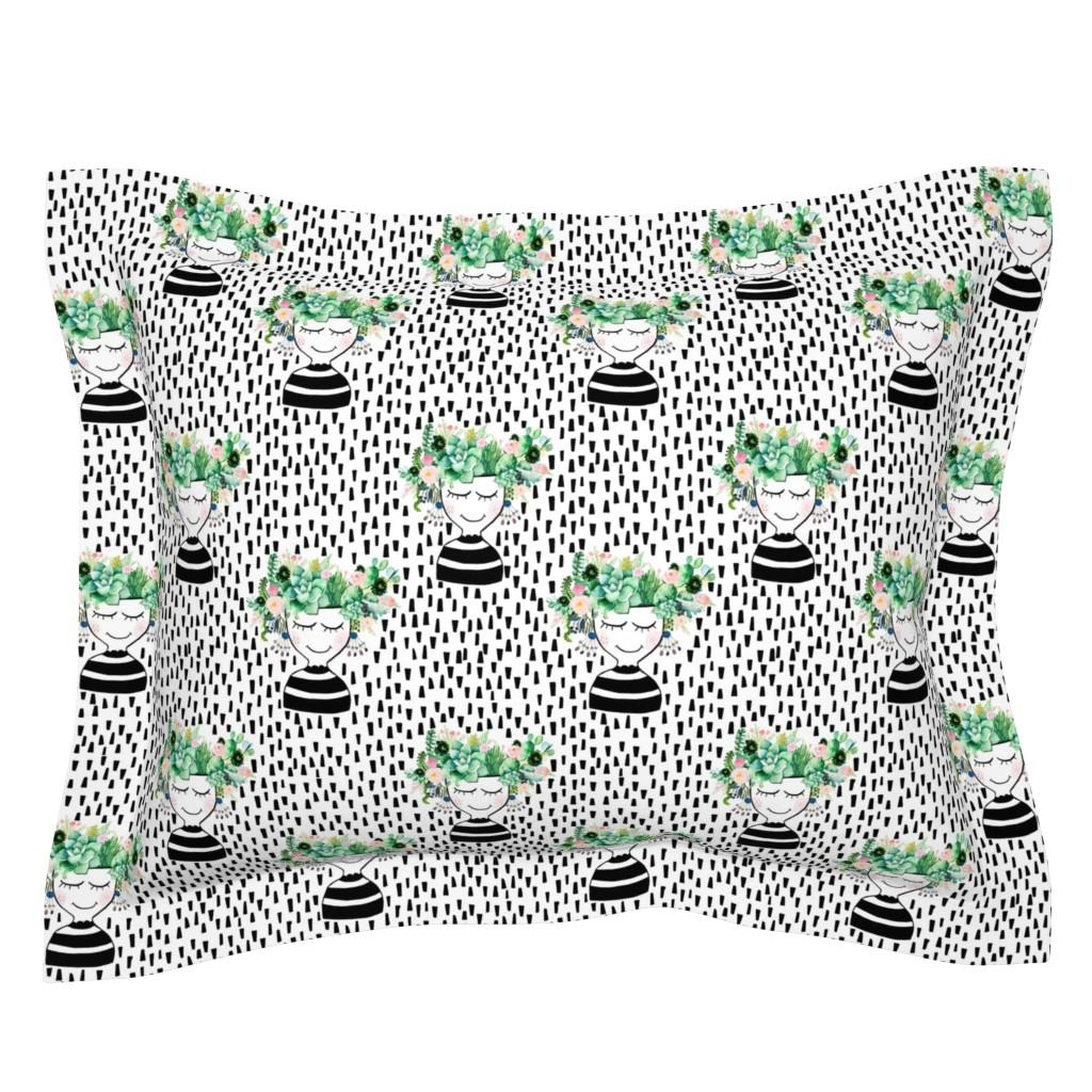 """Sebright Pillow Sham featuring 8"""" Pretty Girl Floral Planter - Black Dashes by shopcabin"""