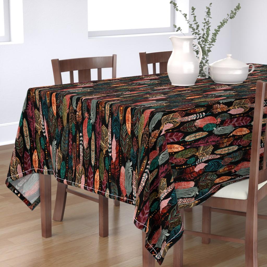 Bantam Rectangular Tablecloth featuring Feathers - on Black by sarah_treu