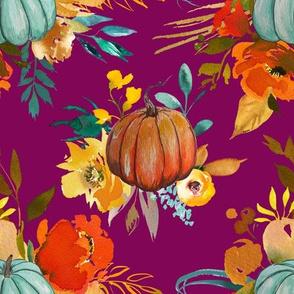Pumpkin Floral // Mulberry
