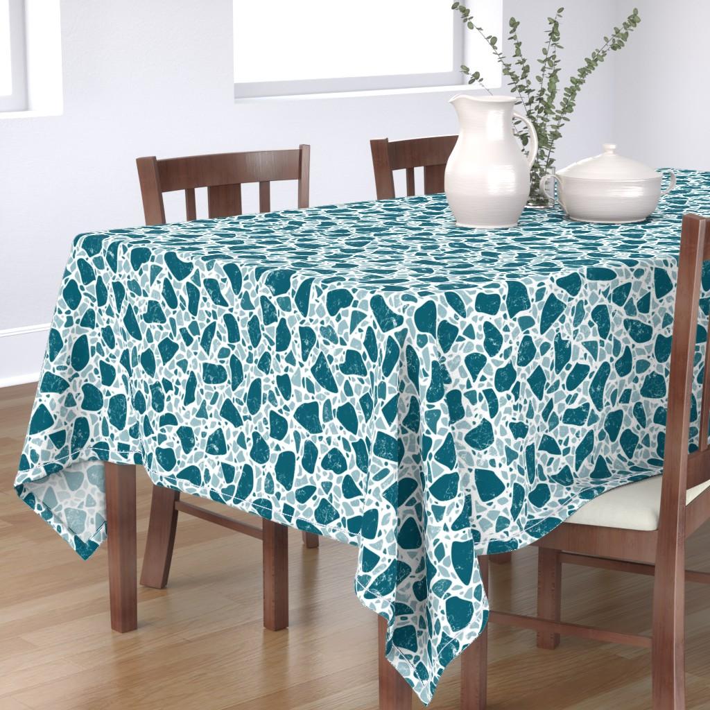 Bantam Rectangular Tablecloth featuring Terrazzo Lagoon Bg White_300dpi by mia_valdez