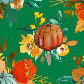 Autumn Pumpkin Floral Watercolor // Kelly Green