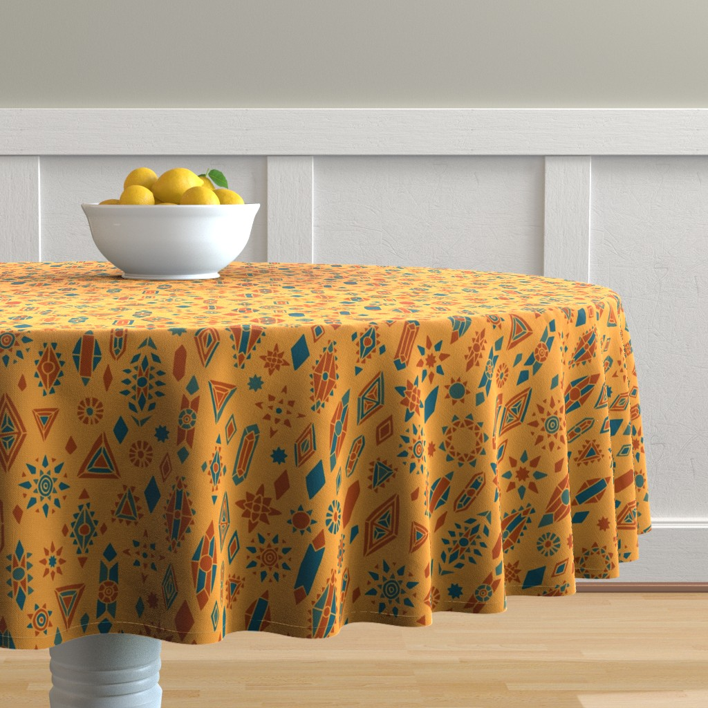 Malay Round Tablecloth featuring Southwest Boho by leiah