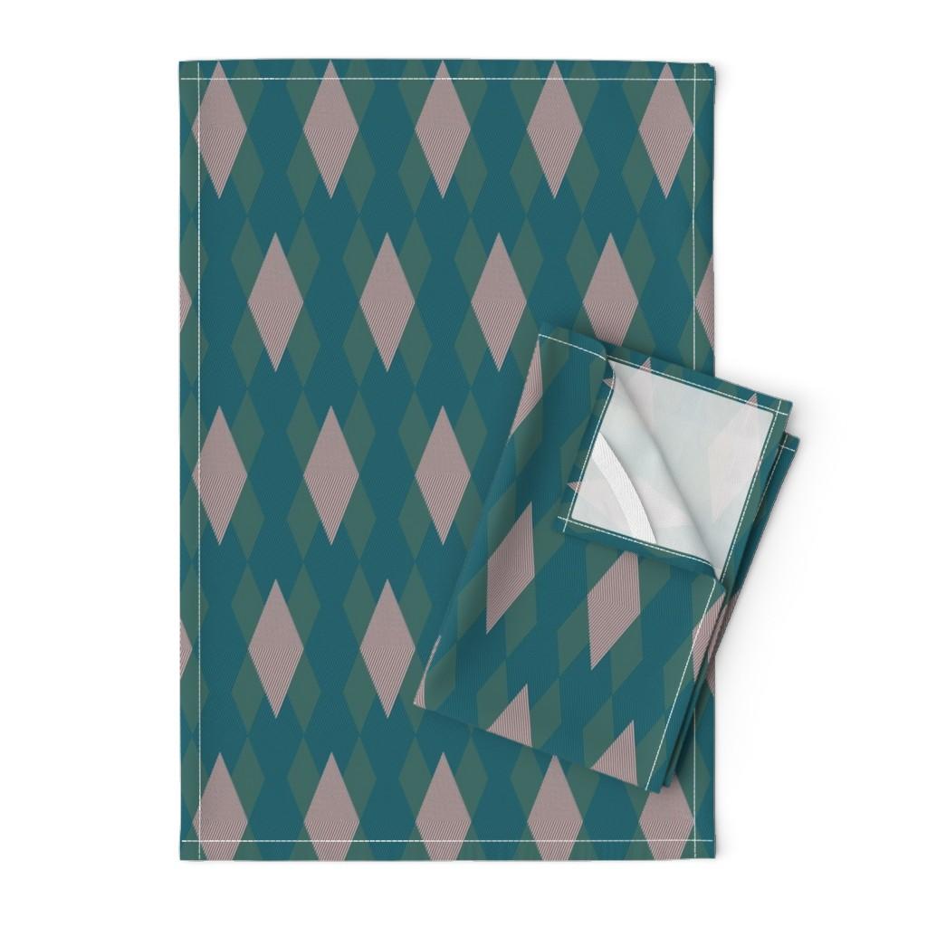 Orpington Tea Towels featuring Sort-of Argyle by autumn_musick