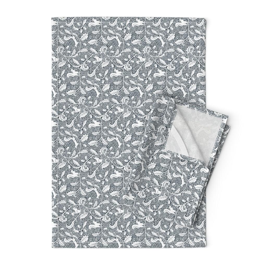 Orpington Tea Towels featuring Terrazzo Black-Gray Bg White_200% size by mia_valdez
