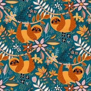 Cute Boho Sloth Floral