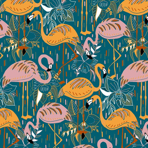 Tropical Fantasy Flamingos