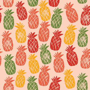 Tropical Pineapples - Coral Background