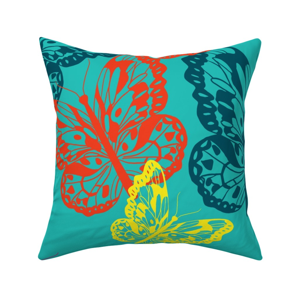 Catalan Throw Pillow featuring Butterfly Flurry  large scale in bright colors by jamiejaques