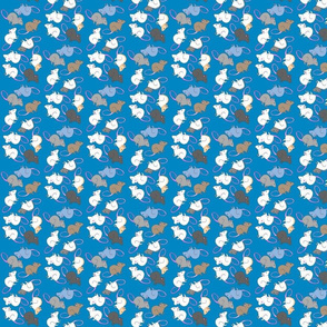 Fancy Rats Fabric on Blue Background, smaller print
