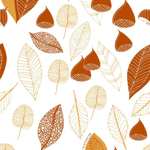 Abstract Autumn Leaves And Chestnuts