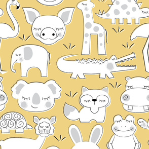 8081833-baby-animals-on-soft-yellow-by-lilcubby