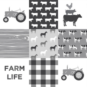 Farm life - patchwork wholecloth - farm themed - grey C18BS