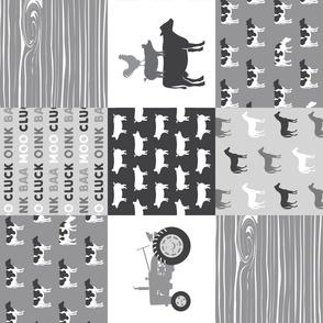 Farm life - patchwork wholecloth - farm themed - grey C18BS (90)